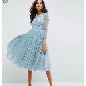 ASOS Blue tulle embellished midi dress